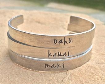 Hawaiian Jewelry, Hawaiian Cuff, Maui Bracelet, Kauai Bracelet, Oahu Bracelet, Surf Bracelet, Mother's Day Gift, Girlfriend Gift