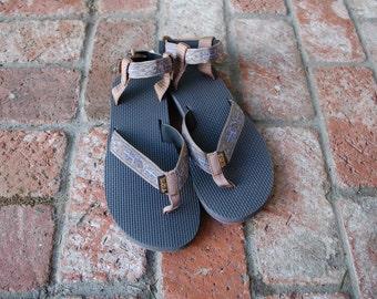 Vintage Womens 9 Teva Original Sandals Lizard Artist Series Grand Canyon Inspired Aztec Boho Native Hippie Gypsy Boat Shoes Hiking Natural