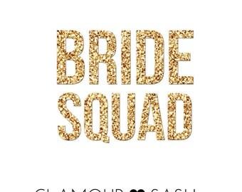 Bride Squad Iron On Decal - Bachelorette Party - Bride Gift - Bride Shirt - Bride Tank Top - Bridesmaid Gift - Tote Bags - Applique