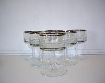 Vintage Silver Rimmed Glasses  Retro Dessert Champagne