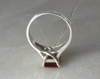 Art Nouveau Ruby and Sterling Ring.