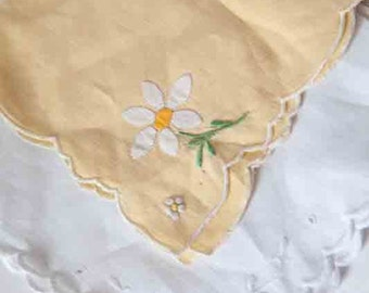 Vintage Handkerchiefs Daisy set of two