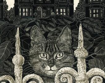 Cat in the Park Art Print of Original Scraperboard