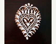 THANKSGIVING SALE Hand Carved Indian Wood Textile Stamp Block- Heart Floral Motif