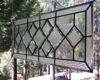 Beveled Diamonds Stained Glass Window