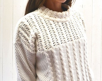 Cable Knit Sweater 1980s Vintage White Cotton Pullover Twin Peaks Woodland Medium Large
