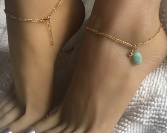 Gold Filled Anklet with pale aqua Larimar stone. One size fits most adjustable ankle bracelet up to 10 1/2 inches.