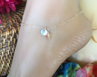 Sweet Sterling Silver custom monogrammed charm anklet, colorful bead of choice. Adjusts up to 10 1/2 inches.  Initial A to Z ankle bracelet