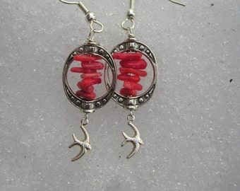 five dollar earrings, five dollar gifts, coral earrings, bird earrings, swift, Montana, red coral earrings, red coral