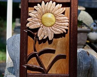 Hardwood Intarsia Daisy Wall Art