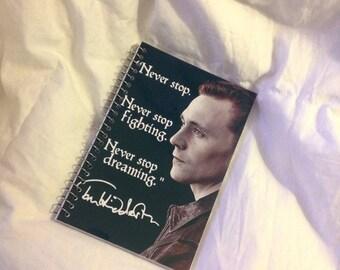 "FALL SALE Tom Hiddleston ""Never stop"" memo book"