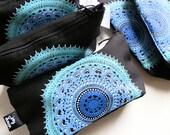 Boho luxe purse, BLACK OCEAN, bohemian, make up bag, coin purse, cotton linen