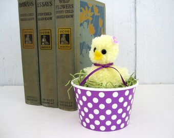 Yellow Chick Purple Polka Dot Nest Easter Basket Spring Decor Centerpiece Vintage Style Sculpted Pom Pom Chicks Chicken