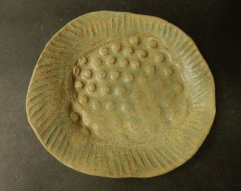 Pottery soap dish made of stoneware clay…..organic in nature…...rustic with a layered moss glaze