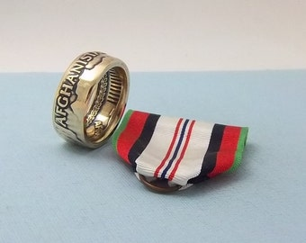Afghanistan Campaign medal turned into a size 10 ring A unique gift for service in Afhganistan.Wear it on those special occasions