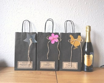 Wine bottle bag personalised for hen party black recycled paper gift bag wedding favour gift wrap