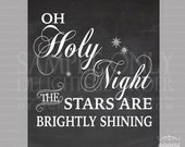"16x20 - ""Oh Holy Night"" Chalk Look Wall Art - (JPEG Digital File) Instant Download - You Print- You Frame"