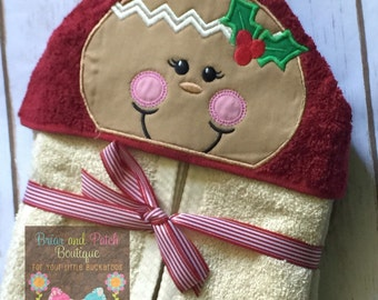 Gingerbread Girl Hooded Towel (Ready to Ship)