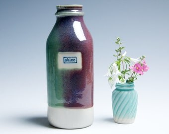 "Ceramic Milk Bottle Porcelain Vase / Teal Purple Raspberry ""Shine"""