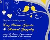 Love Birdie Wedding Invitations - Custom Listing for garcialuz907 - Blue tweet, tweet love birds in a tree