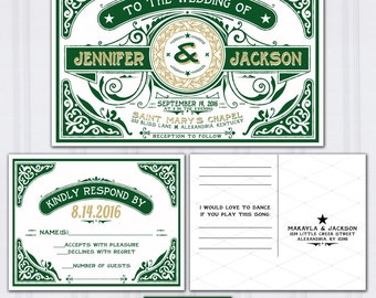 Celtic Wedding Invitations, Emerald Green and Gold Wedding Invites, Letterpress Look Wedding Invitation, Retro Typography Wedding Stationery