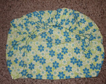 Green, Blue, and White Flowered Pack and Play Fitted Sheet
