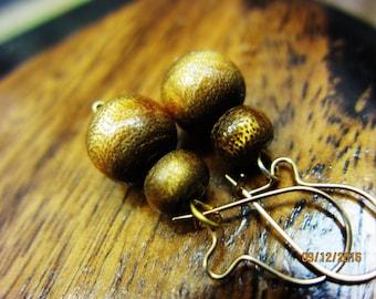 """1960's Genuine Vintage Glowing Honey Amber Brown warm tones Golden  Sponge Coral Earrings 1.25"""" inch +"""