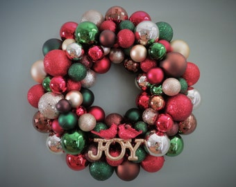 Christmas Wreath WOODLAND CHRISTMAS RED Forest Green Brown & Champagne Ornament Wreath with Joy Ornament