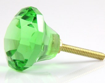Green faceted glass knob 3.4cm GRN016