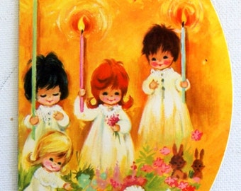 Vintage 1970s ROUND little girls, angels Christmas card