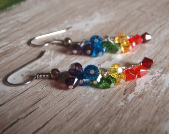 Rainbow Dangle Earrings, Swarovski Crystal on Chain