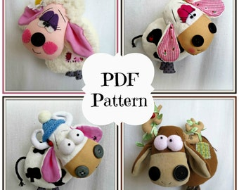 PDF Sewing Pattern Funny Farm Series, Cow, Sheep, Moose, Plush Softies