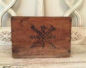 Small Rustic Wooden Box - Gurney Upholstery Nails - Vintage Industrial Storage