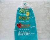 Hanging Double Kitchen Towel Eat Beach Sleep Repeat Towel Kitchen Towel  Flip Flop Towel Crochet Top Hanging Kitchen Towel