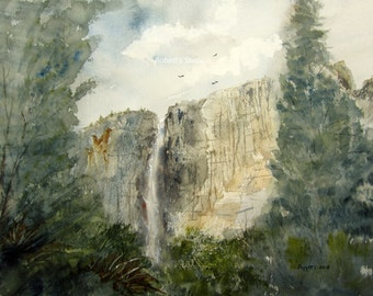 Yosemite Falls, Archival Print, waterfall painting, landscape painting, watercolor art, waterfall, mountain painting, national park, nature.