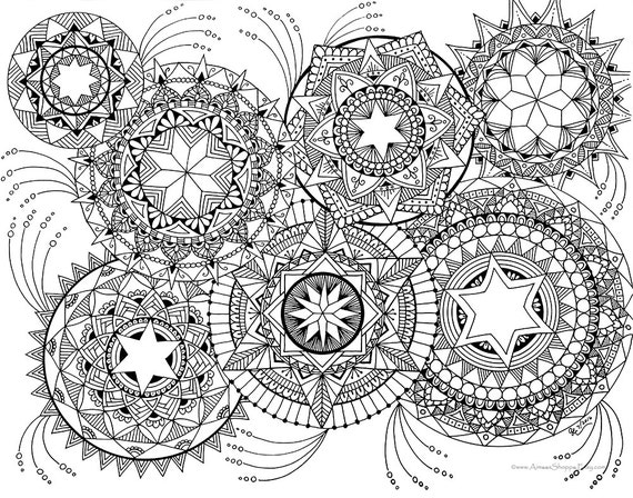 fire mandalas coloring pages   Fireworks Coloring Page Pen and Ink Drawing by AimeesShoppe