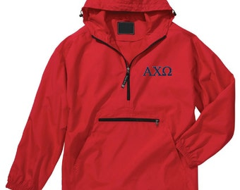 Alpha Chi Omega Unlined Anorak (Red)