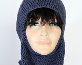 Reserved for Karoline Black Crocheted Ski Mask with a flower Winter Balaclava Mask Crocheted Face Mask