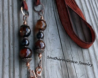 Rustic Heart Pendant and Coppertone Silk Ribbon Necklace