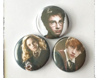 "Young Potter, Granger, and Weasley 1"" Buttons"