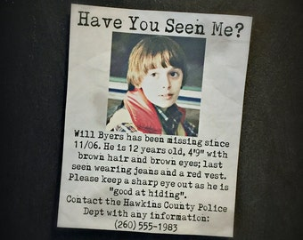 Will is Missing! Print inspired by Stranger Things