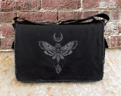 Messenger Bag - Moth Moon Rock - Screen Printed Messenger Bag
