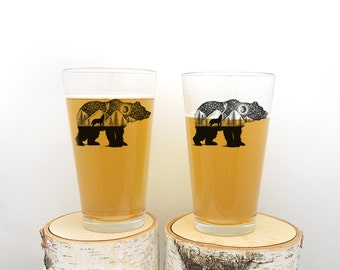 Pint Glass - The Bear and Wolf - Screen Printed Glasses - Set of Two 16oz. Pint Glasses