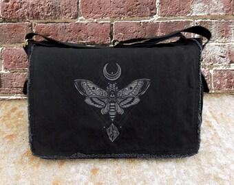 Messenger Bag - Moth Moon Rock - Screen Printed Messenger Bag