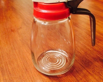 Vintage Syrup Dispenser Pourer Retro Red Plastic Metal and Glass 1950s Diner Style