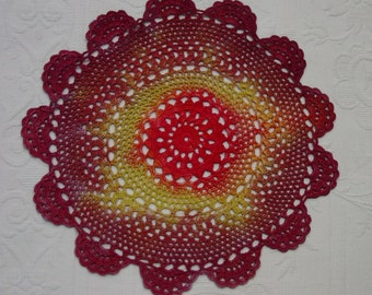 """Hand Dyed Vintage Crocheted Doily, 8 1/2"""", Burgundy,Red,Yellow"""