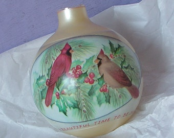 Vintage Hallmark Christmas Ornament with Box, Time for Love Ornament, 1990, Cardinals, Bird ornament, Glass Ornament, Gift for bird lover