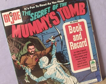 Vintage 1970's G.I. Joe book and record, The Secret of the Mummy's Tomb, 1973, SEALED, 45 RPM lp, retro Christmas gift for boy,