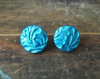 Mermaid Teal Floral Earrings
