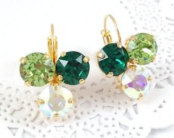 Emerald Earrings - Green Ombre Earrings, Swarovski Crystal Trilogy Green Gradient Earrings, Nickel Free Gold Plated Earrings, Christmas Gift